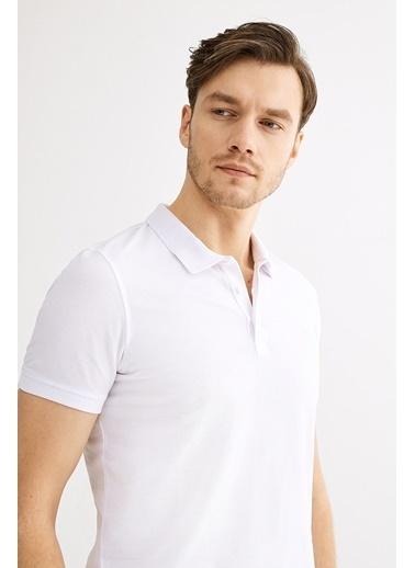 Avva Erkek  Polo Yakalı Düz Tişört A01B1146 Beyaz